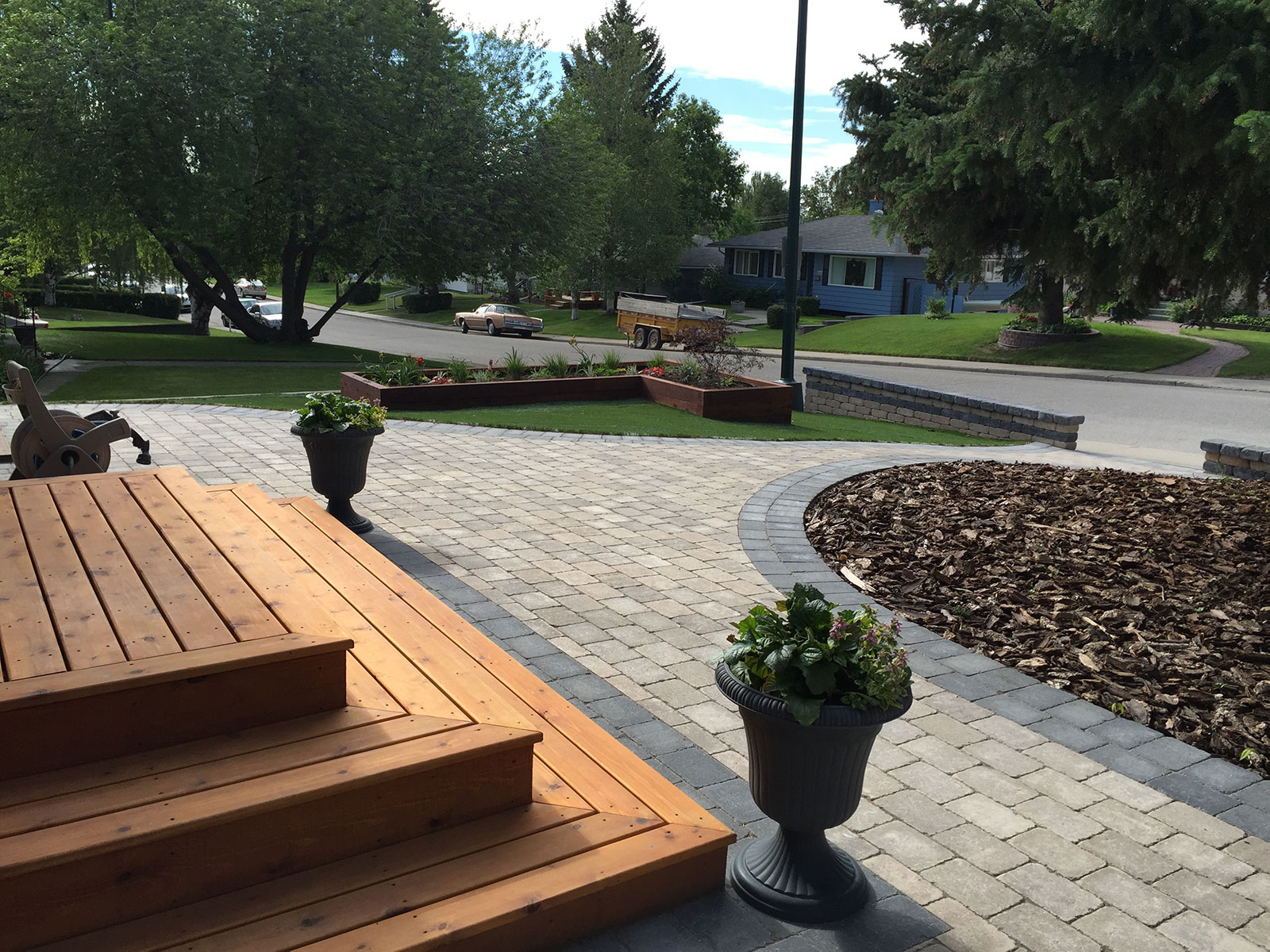 wood steps and mulch gardens Calgary landscaping
