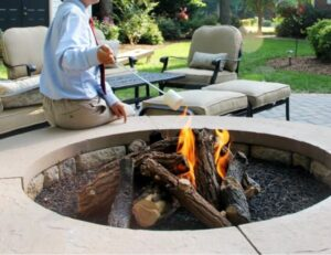 Fire pit installation - landscaping