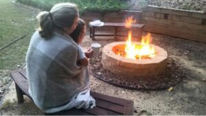 traditional fire pit installation